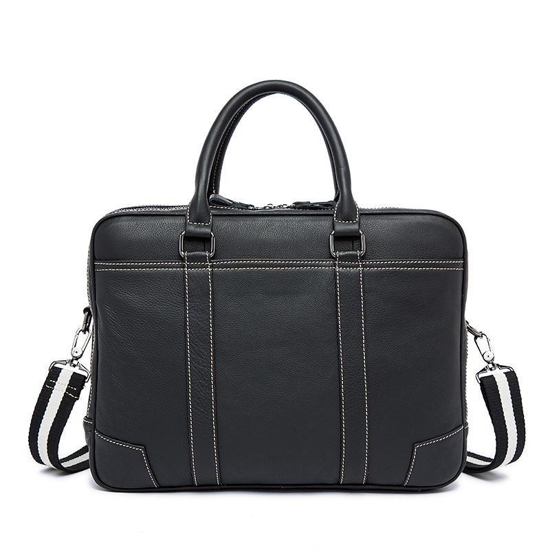 Nesitu High Quality Black Genuine Leather 14'' Laptop Office Men Briefcase Messenger Bags Male Portfolio M9879