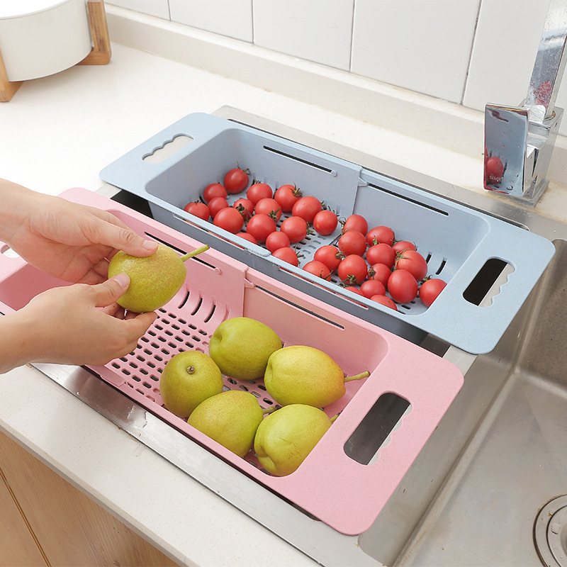 Retractable Kitchen Sink Drain Basket Plastic Dish Rack Sink Filter Water Basket Kitchen Sink Accessories Drain Strainer Basket