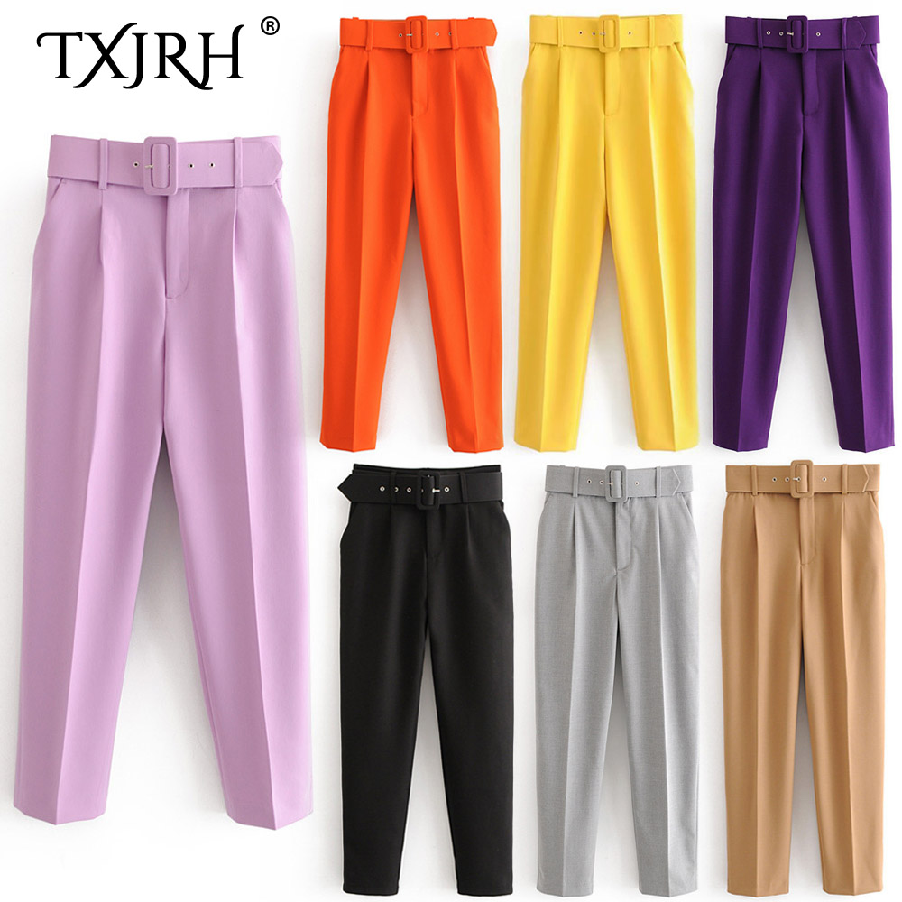 TXJRH Chic Fashion Straight Pants With Belt Sashes Waist Casual High Waist Pockets Zipper Women Pants OL Trousers 9 Candy Colors