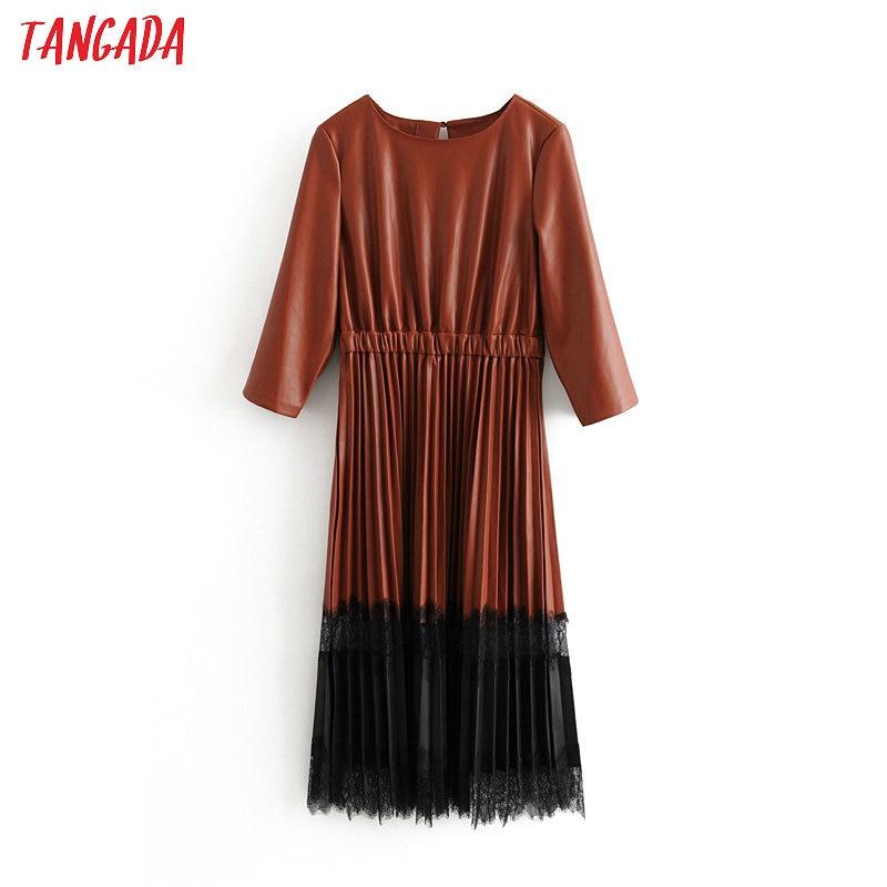 Tangada femmes PU faux cuir robe patchwork dentelle o cou rétro élégant dames marron plissé robe moyenne vestido 3h190