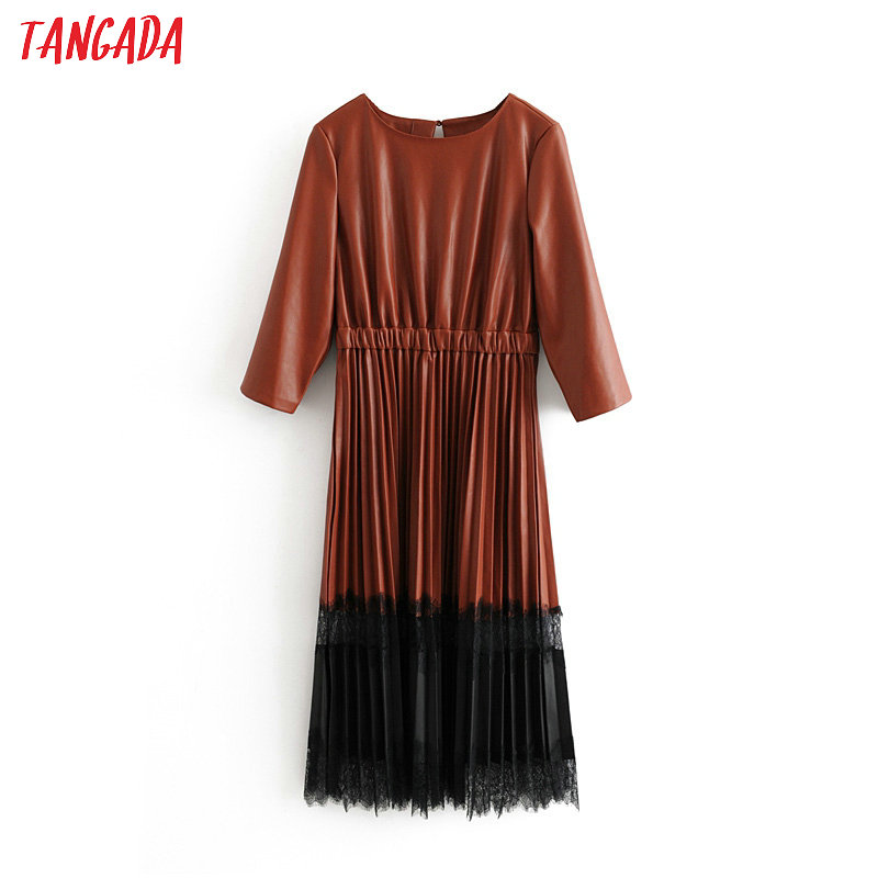 Tangada Women PU Faux Leather Dress Patchwork Lace O Neck Retro Elegant Ladies Brown Pleated Mid Dress Vestido  3h190