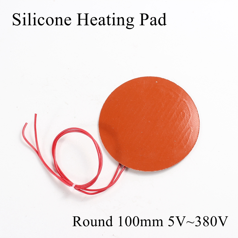 Round 100mm 5V 12V 24V 36V 48V 110V 220V 380V Silicone Heating Pad Rubber Heat Mat Heated Bed Plate Flexible Waterproof 3D Print