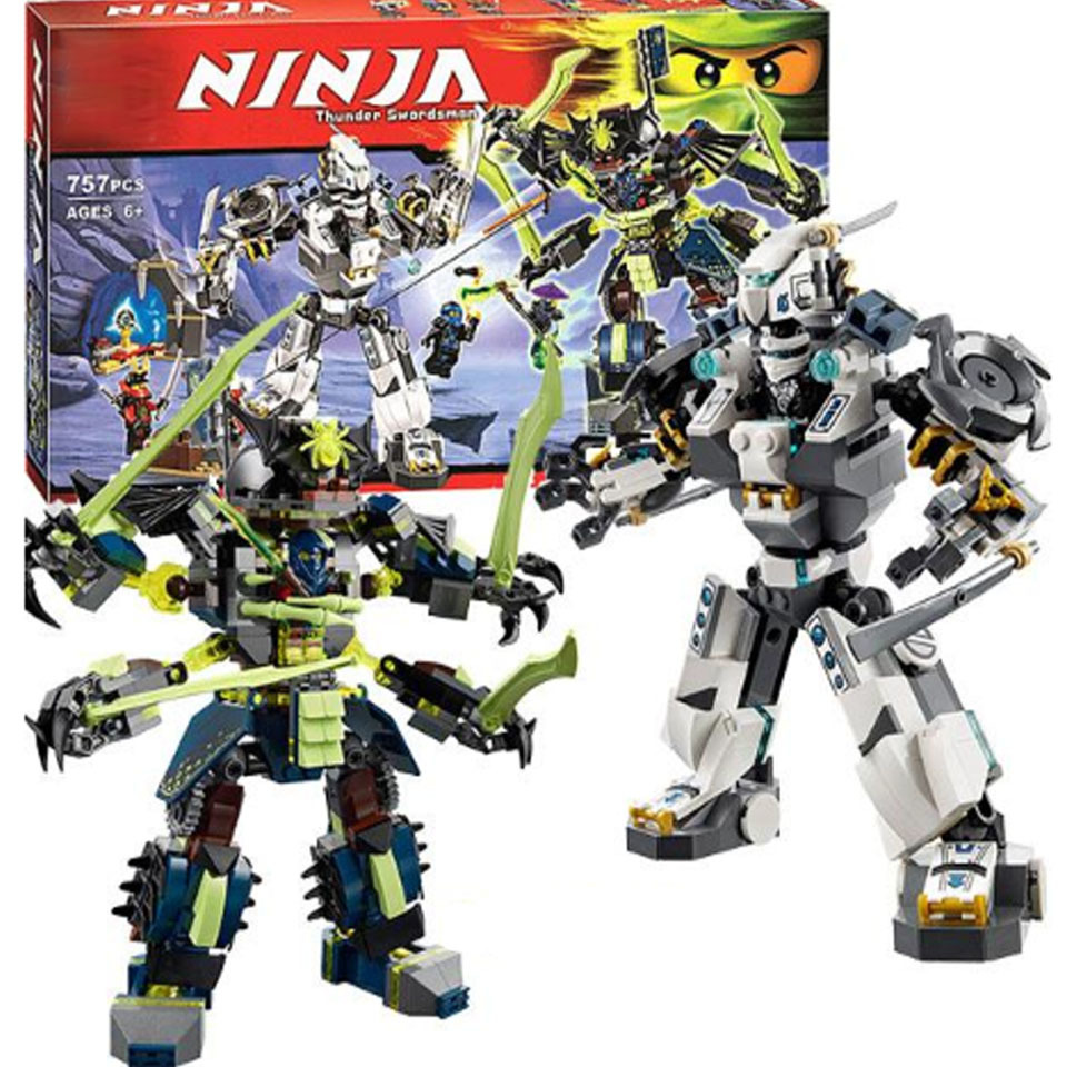 757pcs Ninja Titan Mech Battle Zane's Mech-enstein Nya's Cave Model Building Blocks Kids Toy Bricks legoinglys Ninjagoes