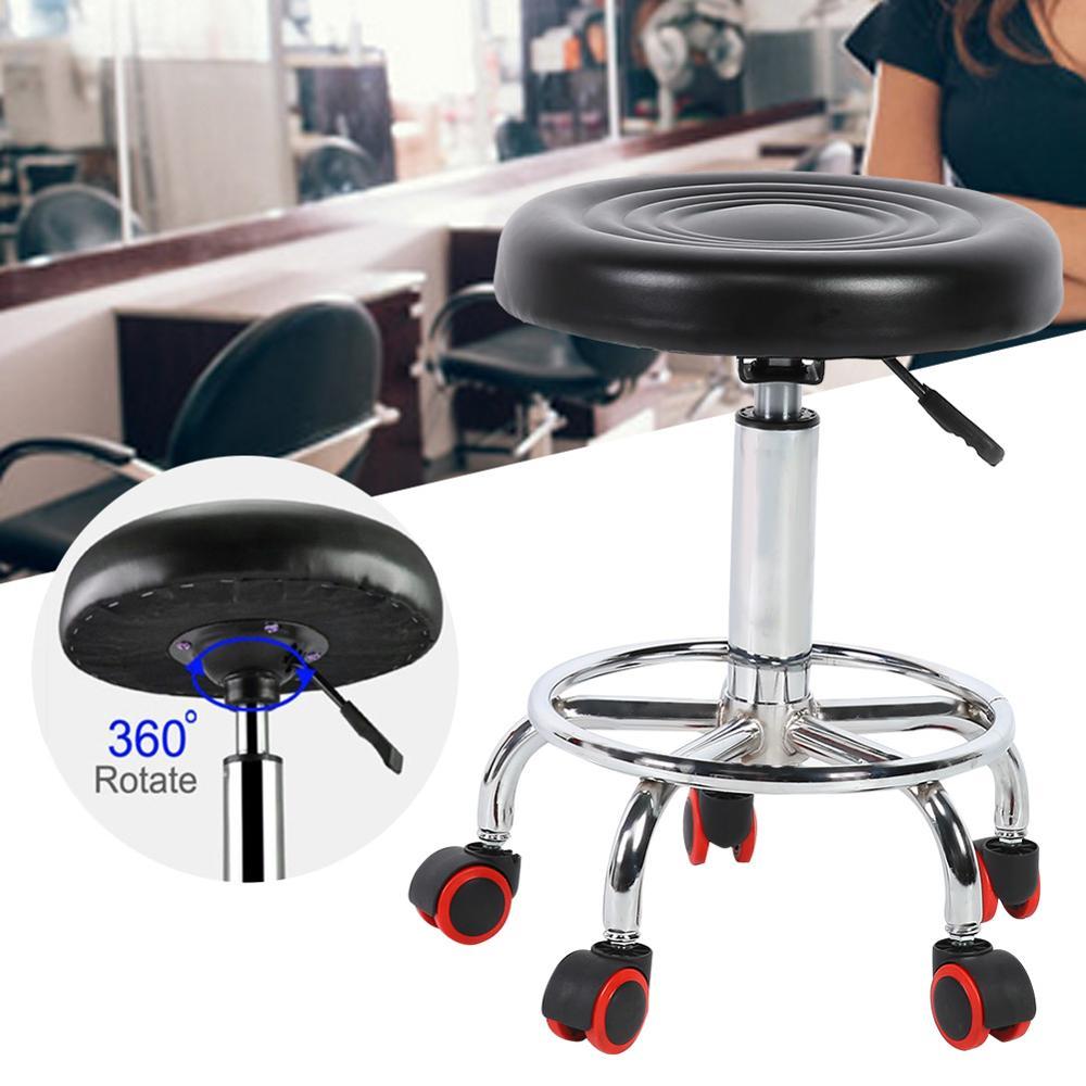 Height Adjustable Salon Stool Rolling Swivel Stool Tattoo Massage Spa Chair BlackSalon Home Furniture 1