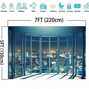 Image 5 - Laeacco Modern City Night Buildings French Window Photography Backdrops Photo Backgrounds Interior Decor Photocall Photo Studio