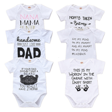 Newborn Bodysuits Daddy Mommy Letters Print White Onesie Short Sleeves Baby Boy