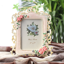 Pink Rose Resin Painted Photo Frame Crafts Gift Stand Home Decoration Wedding Dress Portarretratos Display Frame a4 size wood photo frame solid wood photo frame stand table display photo quadro decoration tv wall frame best gift 2019