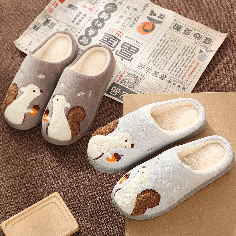Cartoon Squirrel Women Winter Home Slippers Lovers Couple Soft Sole Warm House Shoes Men Women Girl Boys Indoor Bedroom Slippers 3