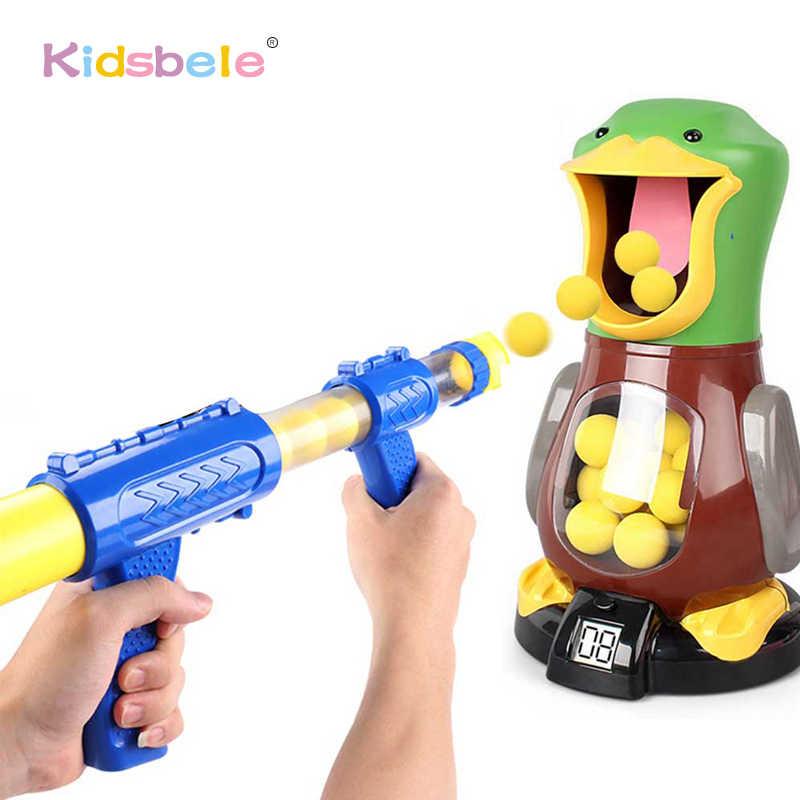 Miękka pianka piłka pistolet strzelanka zabawki dla dzieci kryty interaktywne powieść zabawki kaczka pompa powietrza zasilany pistolet dla dzieci