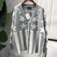 Women Sweaters Gray Printing Wool Mohair Streetwear Long Cardigans Loose Sueter Mujer Knit Sweater Plus Size