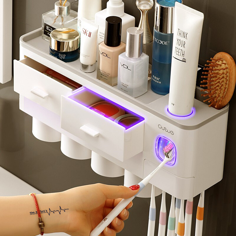 ONEUP New Toothbrush Holder Automatic Toothpaste Dispenser With Cup Wall Mount Toiletries Storage Rack Bathroom Accessories Set image