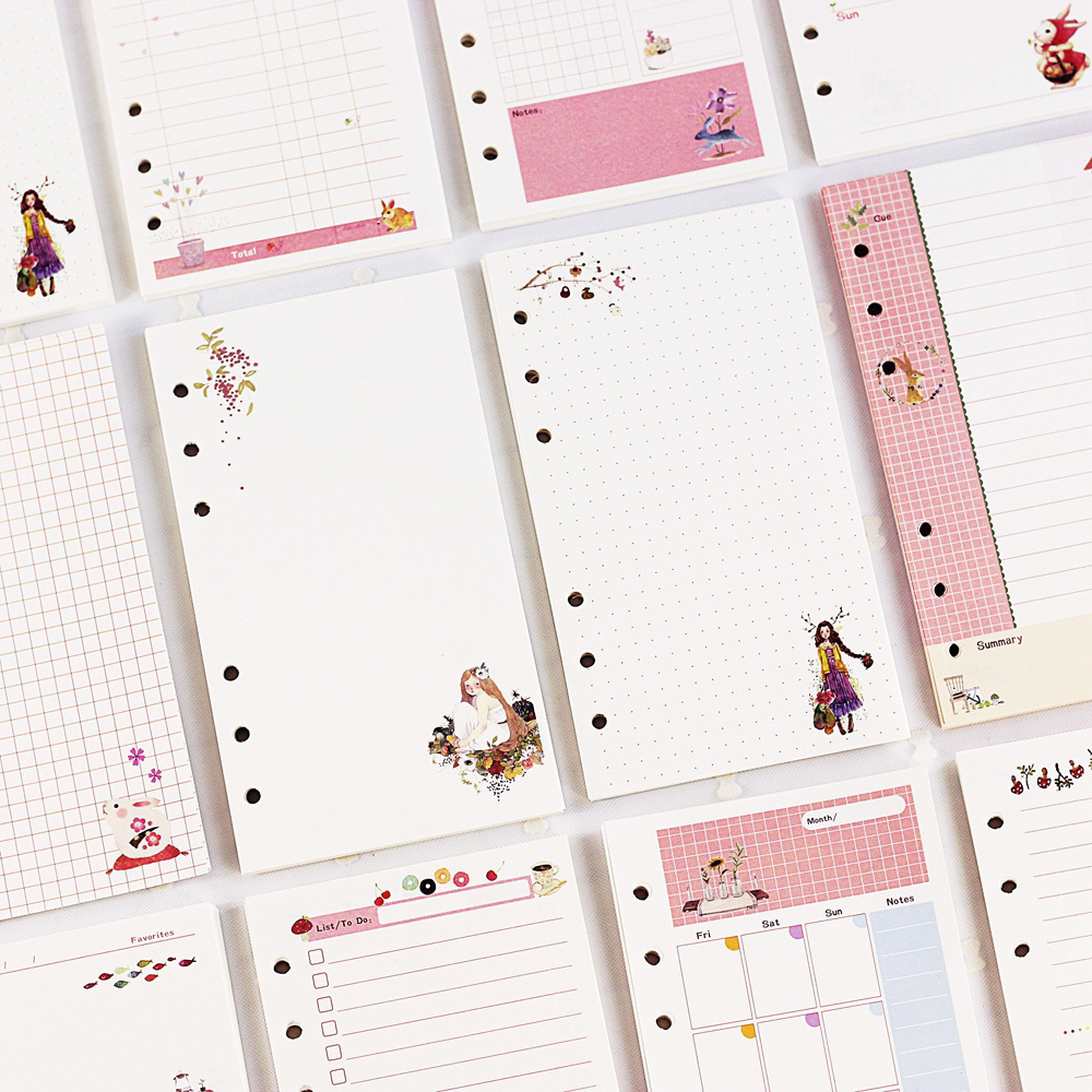 45sheet/book <font><b>A5</b></font> A6 Cute Cartoon <font><b>Notebook</b></font> Loose Leaf Notepad Refill DIY Diary Cover PP Binder Agenda Shell <font><b>Spiral</b></font> Refill Pages image