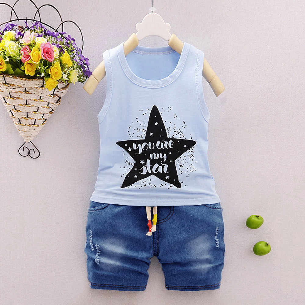 2Pcs Infant Baby Boys Girls Star Letter Tops Vest+Shorts Outfits Clothes Set Baby Girl Dress Boys Clothes Roupas Infantil Menino