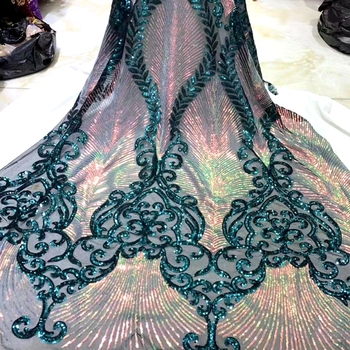 Latest African Lace Fabric With Sequins Embroide Tulle Sequin Lace Fabric High Quality African Nigerian Fabric For Wedding HS03