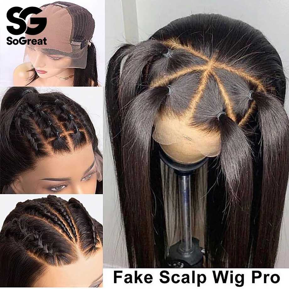 Lace Frontal Front Human Hair Wigs Fake Scalp Wig Brazilian Long Straight for Black Women Pre Plucked with Baby Hair Full Remy