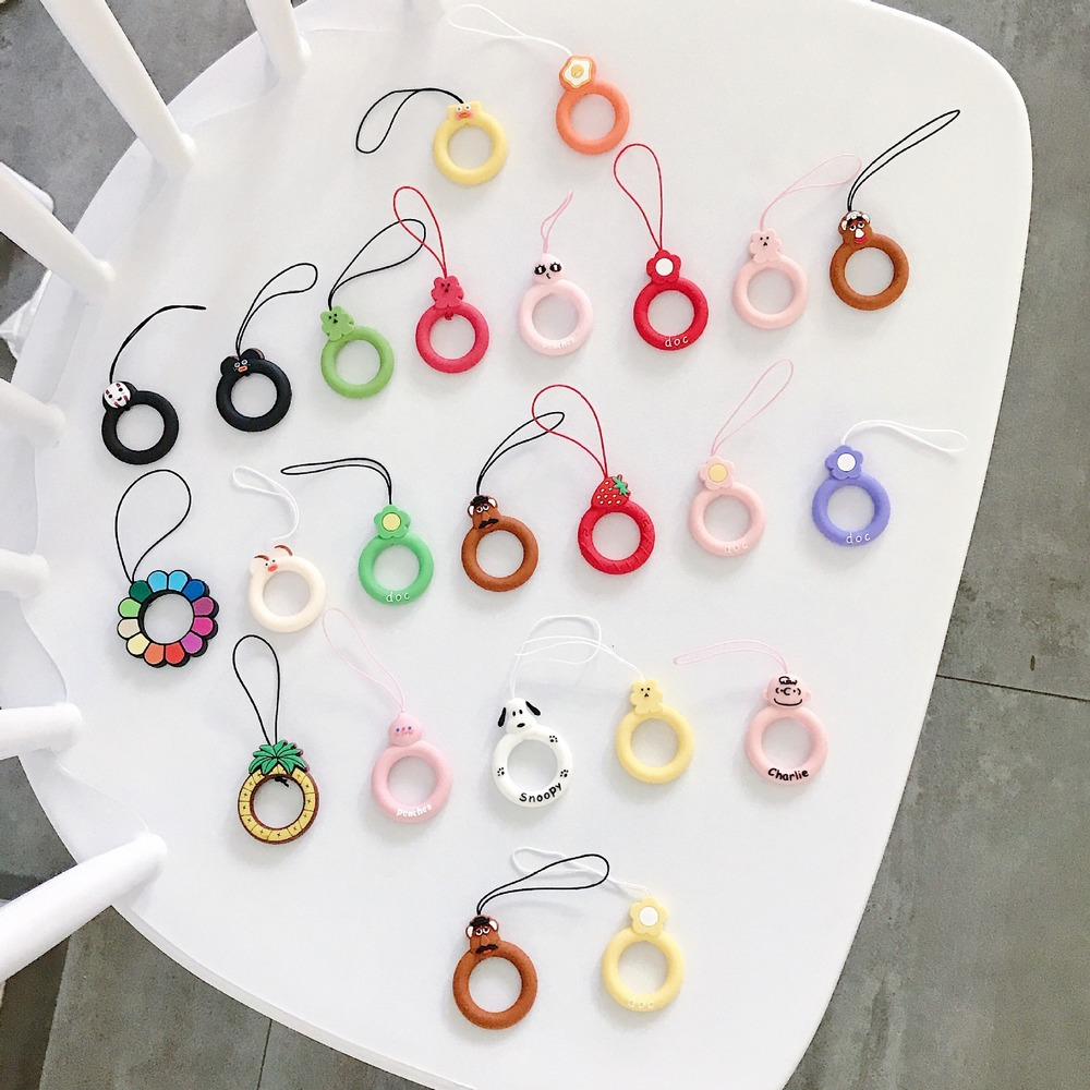 Universal Cartoon Soft Silicone Ring Buckle Mobile Phone Lanyard Doll Pendant For Iphone SE 2020 11 Redmi Huawei LG Accessories