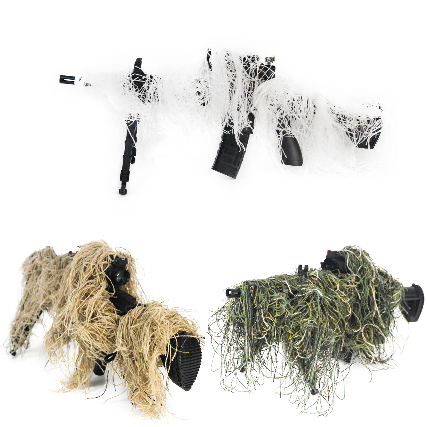 GUGULUZA 3D Rifle Gun Wrap Cover Use Elastic Strap For Camouflage Hunting Ghillie Suit