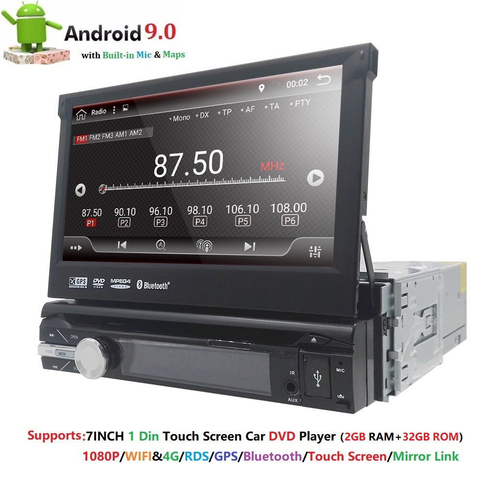 Universal 1 din Android 9.0 Quad Core Car DVD player GPS Wifi BT Radio BT 2GB RAM 32GB SD 16GB ROM 4G SIM LTE Network SWC RDS CD image