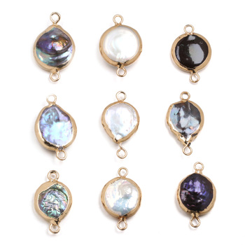 Natural Freshwater Pearl Pendant Elliptical shape Double hole connector Pendants for Jewelry Making DIY Necklaces Accessories