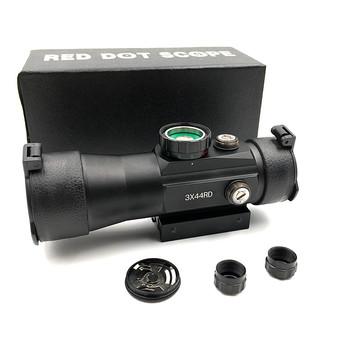 Zewnątrz polowanie 3X44 czerwony zielony Dot luneta taktyczna optyki luneta pasuje 11 22mm szyny do polowania karabin wiatrówka zakresy tanie i dobre opinie Czerwona kropka black 140mm 1x40