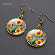 Monet Sunflowers earrings Sunflower drop earring Sunflower jewellery retro student gift стоимость
