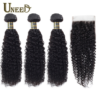 Uneed Bundles With Closure Brazilian Kinky Curly Hair 100% Human Hair Weave Bundle With Lace Closure Remy Hair Weave Extensions