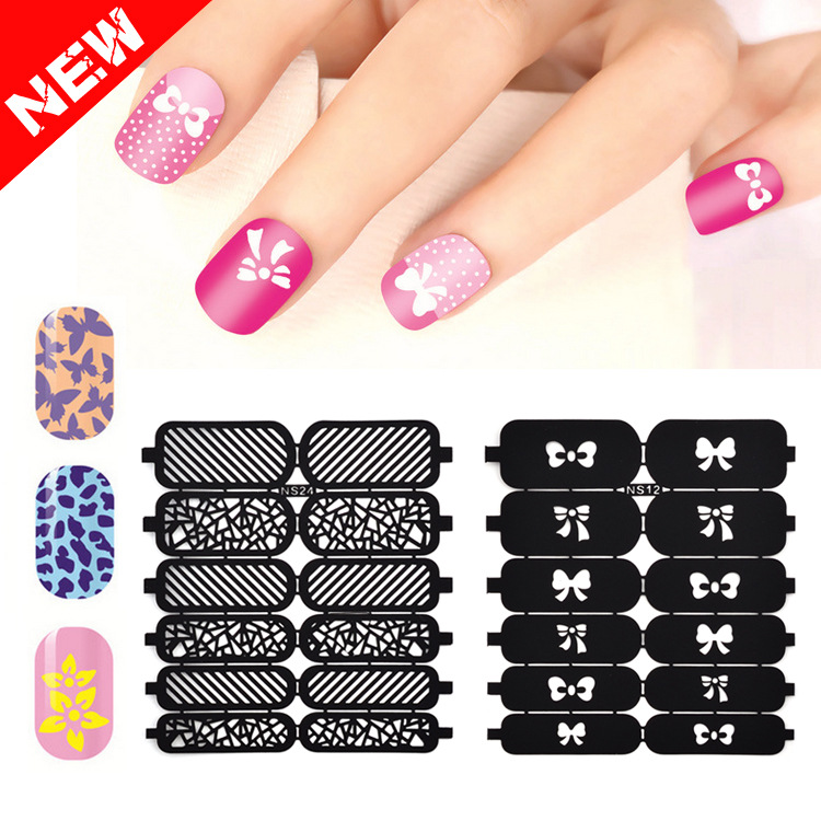 Cross Border For New Style Hollow Out Adhesive Paper Manicure Spray-print Template Hollow Out DIY Creative Flower Stickers Black
