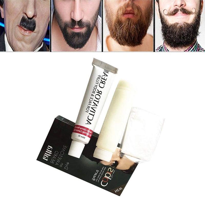 BellyLady Men Mustache & Beard Dye Cream Fast Color Natural Black Beard Tint Cream Beard Stain Boxed Well-colored Beard Cream