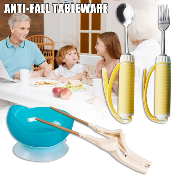 Hemiplegia Elderly Disabled Tableware Eat  Anti-shake Anti-splash Tool Food Fork Spoon DC120