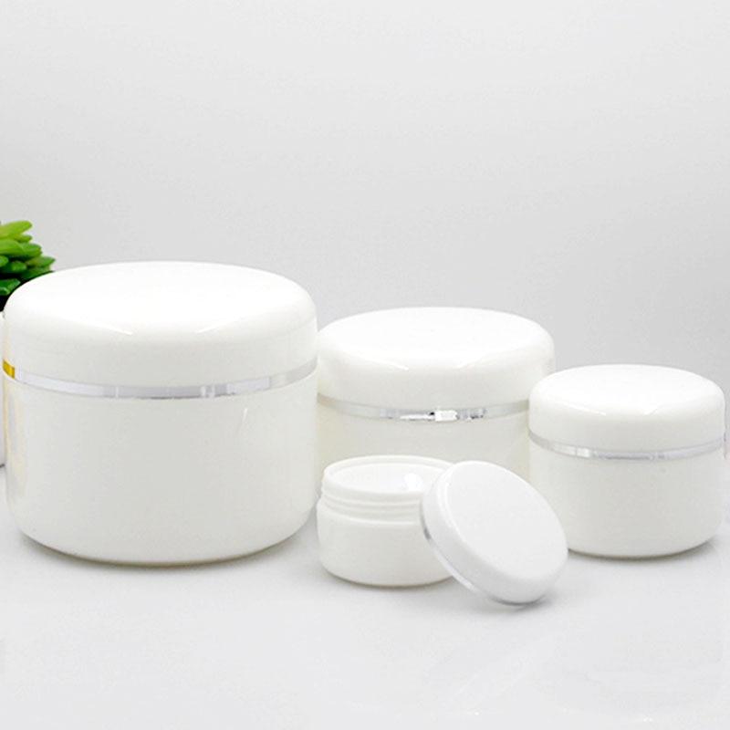 50 pcs/lot en plastique vide maquillage Pot Pot 20g/30g/50g/100g bouteilles rechargeables voyage visage crème Lotion cosmétique conteneur blanc