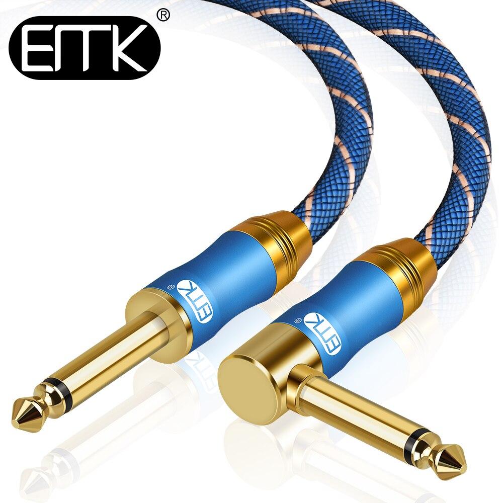 EMK правый угол 6.35mm1/4 ''моно аудио кабель штекер Штекер кабель инструмент кабель для электронной гитары басовая клавиатура 5 м 10 м