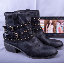 2019 Buckle Ankle Boots For Women PU Leather Fashion Rivet Med Heel Shoes Women Motorcycle Boots Autumn Women Martin Boots esveva 2018 new zipper gray autumn women boots cow suede square med heel ankle boots buckle fashion motorcycle boots size 34 40