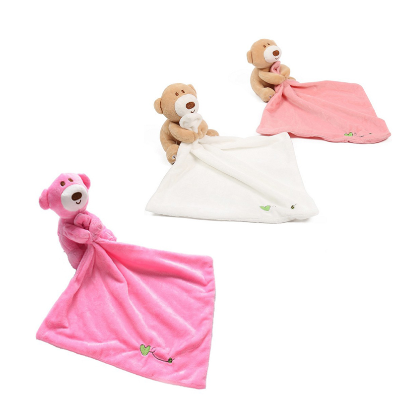 Infant Baby Nursery Soft Smooth Bath Security Cute Bear Toy Blanket Animal Soothe Appease Towel
