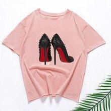 Cool T-Shirt Print Vogue Pink Femme Xmas-Gift Sexy 90-Friends Shoes Tee Hip-Hop High-Heels