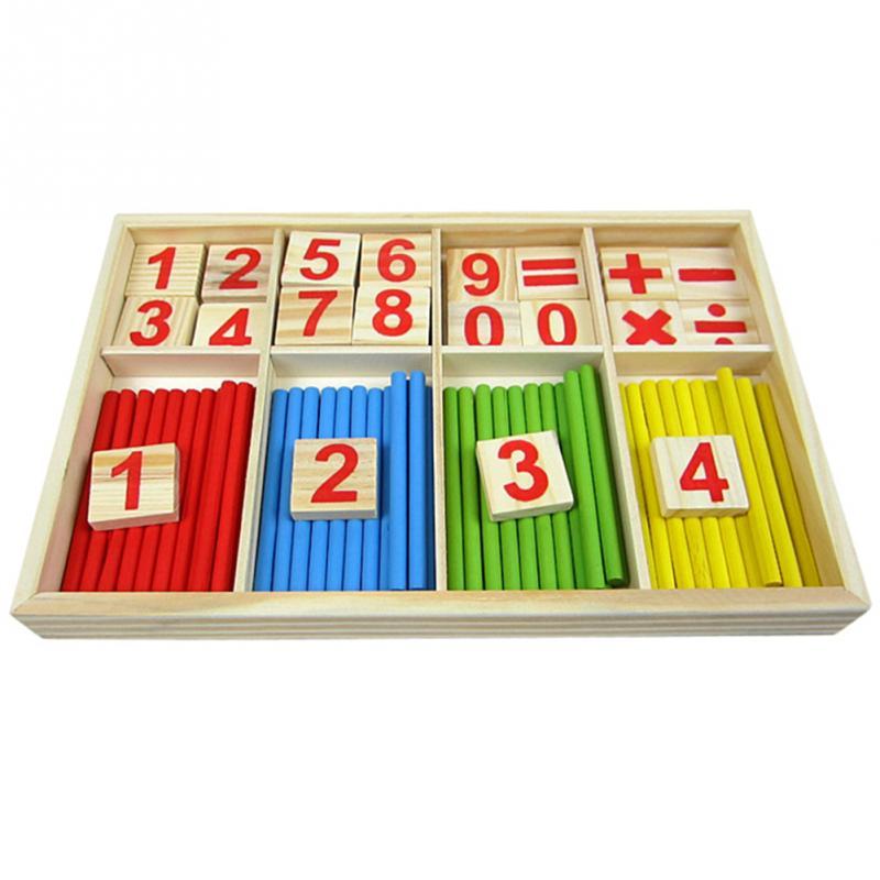 Купить с кэшбэком Baby Toys Counting Sticks Education Wooden Toys Building Intelligence Blocks Montessori Mathematical Wooden Box Child Gift