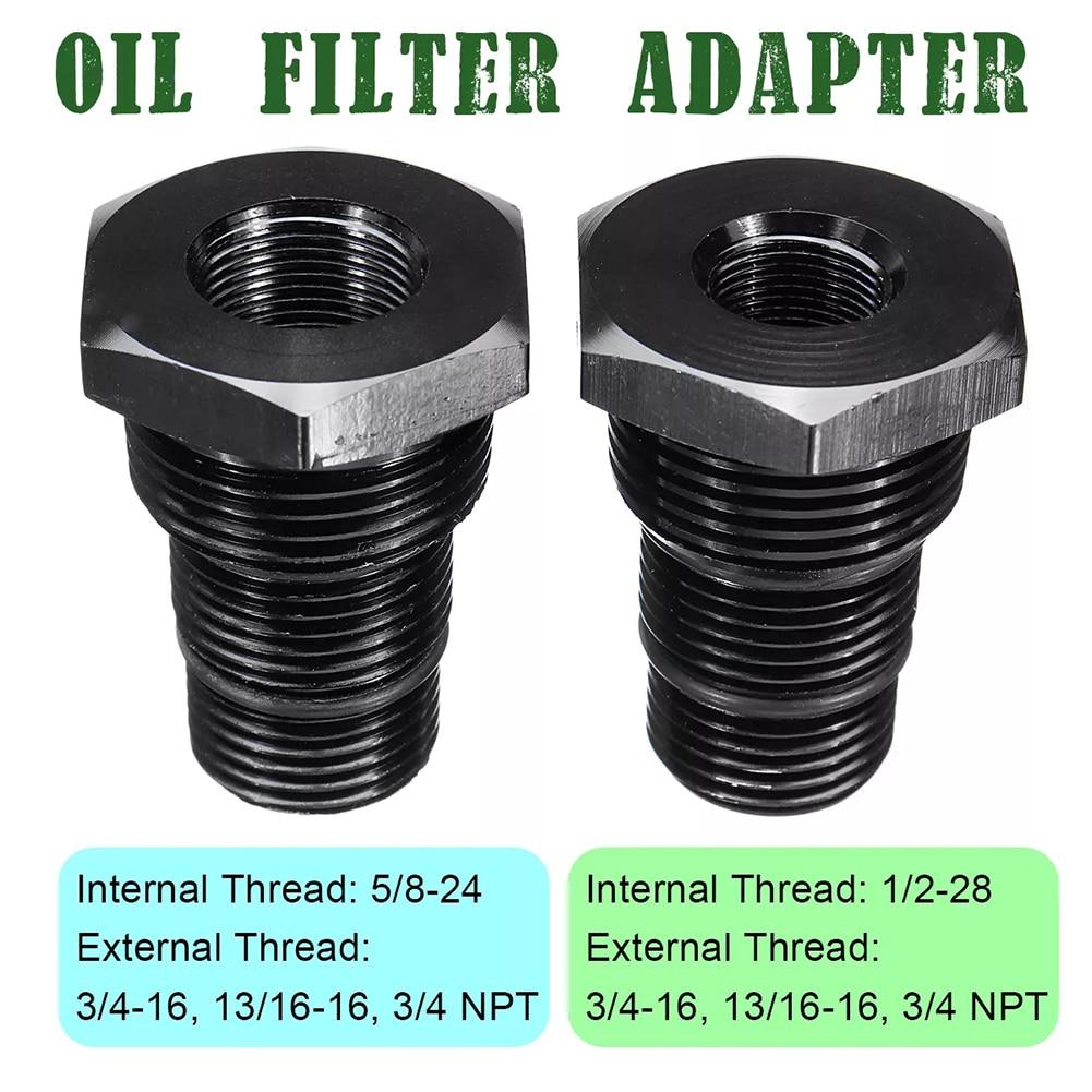 Aluminum Alloy Automotive Threaded Oil Filter Adapter 13//16-16 to 1//2-28 Black