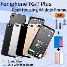Carcasa trasera de repuesto para iphone 7G 7 Plus, Marco medio, cubierta trasera de cristal con logo, bandeja sim, piezas de llave lateral + pegamento de batería