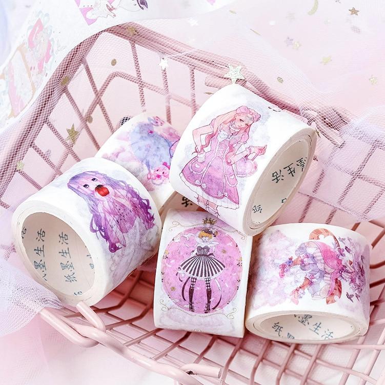 Magic Girl Series Washi Tape Anime Girl Masking Tapes Decorative Adhesive School Kawaii DIY Washitapet Set Scrapbooking Stickers