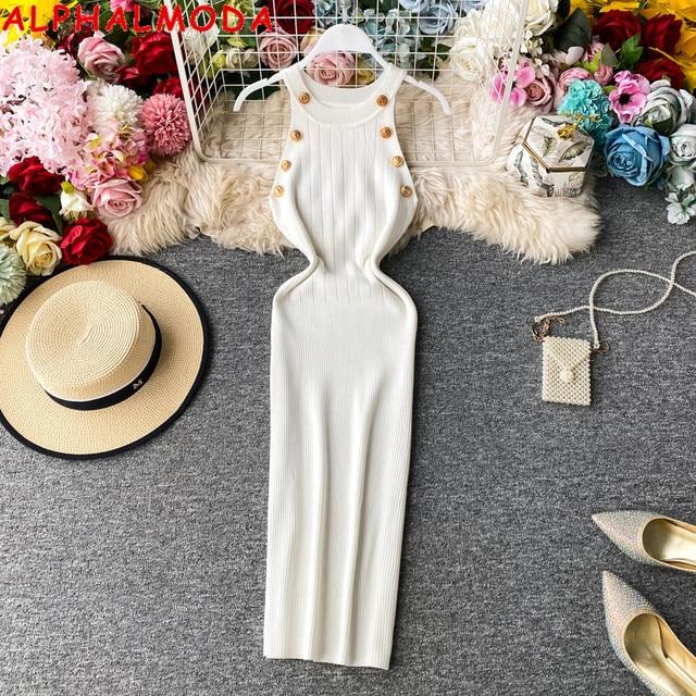 ALPHALMODA 2020 Summer Women Fashion Buttons Knit Dress Sleeveless Pullovers Ladies Slim Solid Knitting Dress 1