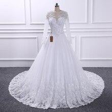 Vestido De Noiva, бальное платье, свадебные платья, иллюзия, сзади, принцесса, Trouwjurk, роскошный жемчуг, длинный рукав, свадебное платье, Casamento