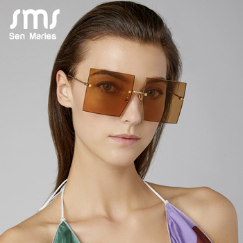 Oversized Rimless Square Sunglasses Women 2019 New Luxury Brand Fashion Flat Top Red Blue Clear Lens One Piece Men Gafas Glasses 2