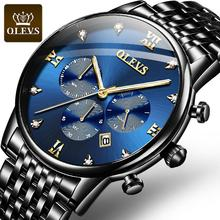 Relogio Masculino Blue Chronograph Watch Men Fashion Date Me