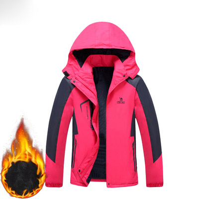 Winter <font><b>outdoor</b></font> fleece wandern jacke frauen winddicht Wasserdicht wolle regen jacke mantel windbreaker windcoat thermische kapuze jacke image