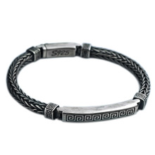 925 Sterling Silver Jewelry for Men Women Weave Rope Chain Bracelet Bangle недорого