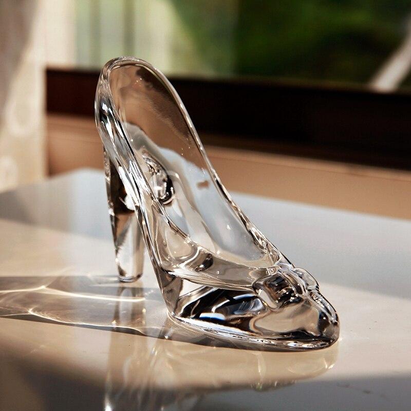 Cristal sapatos de vidro presente de aniversário decoração para casa cinderela sapatos de salto alto sapatos de casamento estatuetas miniaturas ornamento