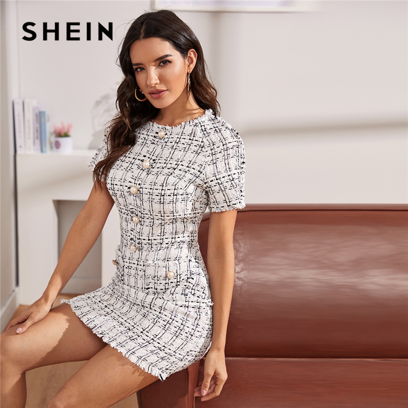 SHEIN Plaid Button Front Frayed Edge Form Fitted Elegant Dress Women 2019 Autumn Short Sleeve Pencil Mini Dresses For Ladies