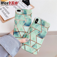 Geometric Marble Case For iPhone 11 Pro MAX 2019 Plating Soft TPU Tempered Glass Case For iPhone XR XS Max 6 6S 7 8 Plus X