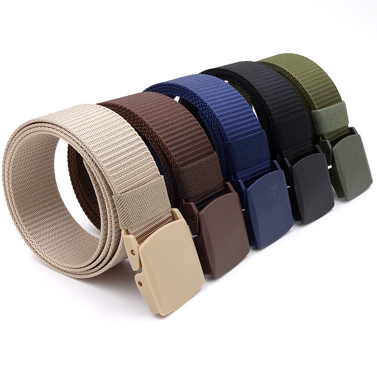 2019 New Canvas Military Training Belt Men's Women's Automatic Smooth Buckle Belts Outdoor Tactical Nylon Leisure Belt Cintos
