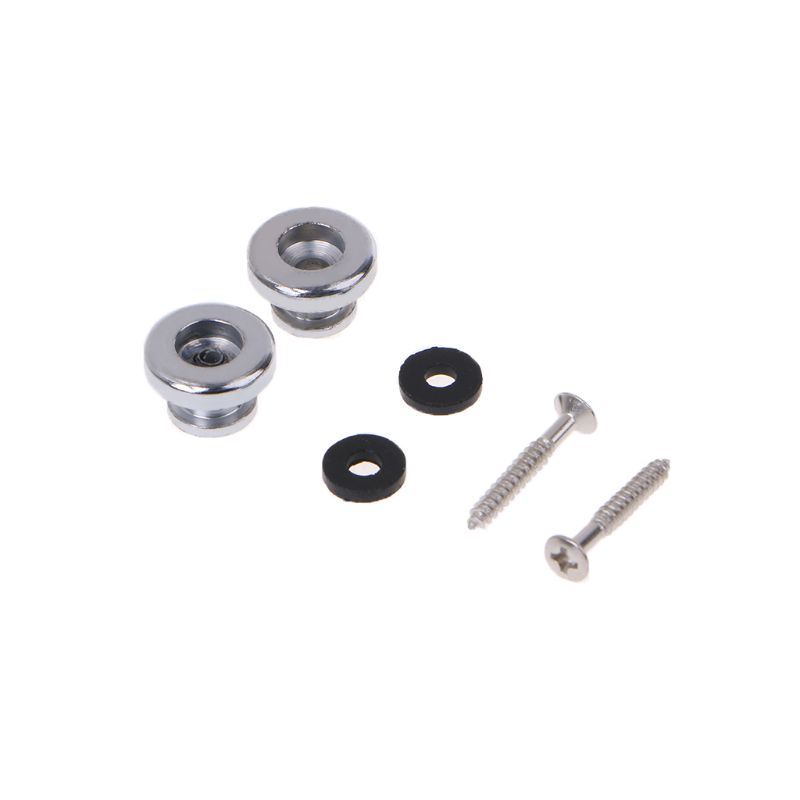 2 Chrome Strap Button Locks Washer Screws Replacement Part For Mandolin Guitar