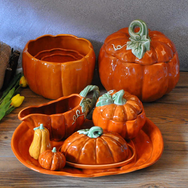 Pumpkin Storage Bowl Plates Mug Ceramic Storage Box Butter Plate With Cover Kitchen Appliance